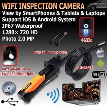Depstech® HD 720P 6-LED-Handheld drahtlose Wifi Wasserdichte Inspektion Endoskop Borescope mit 2.0 Megapixel Inspection Kamera Video Soft Tube 3m für iPhone / Android Phone DENKJ0003 - 6